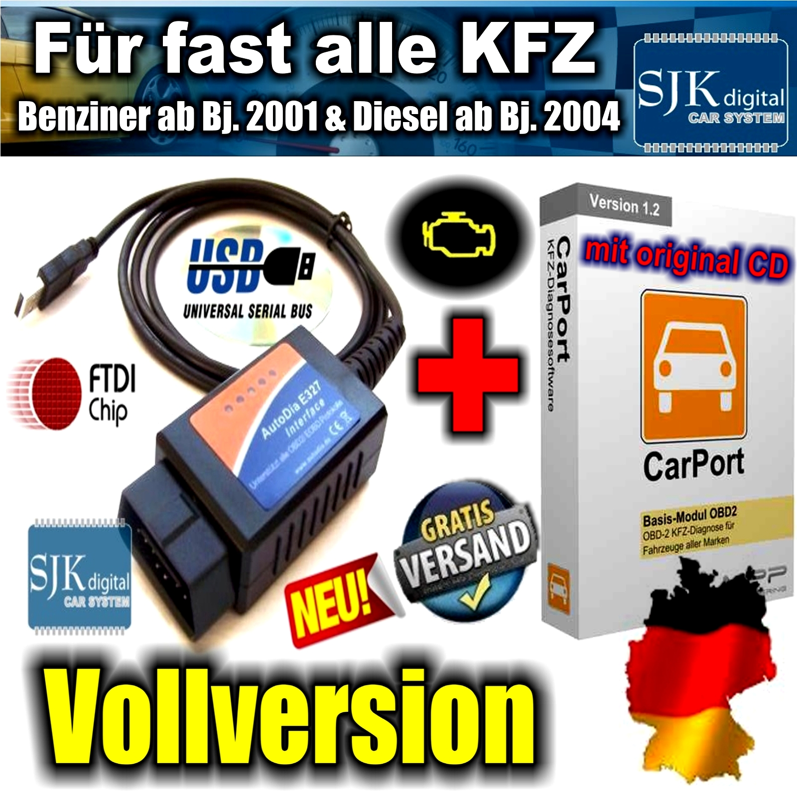 obd can bus diagnose interface f r fast alle kfz. Black Bedroom Furniture Sets. Home Design Ideas