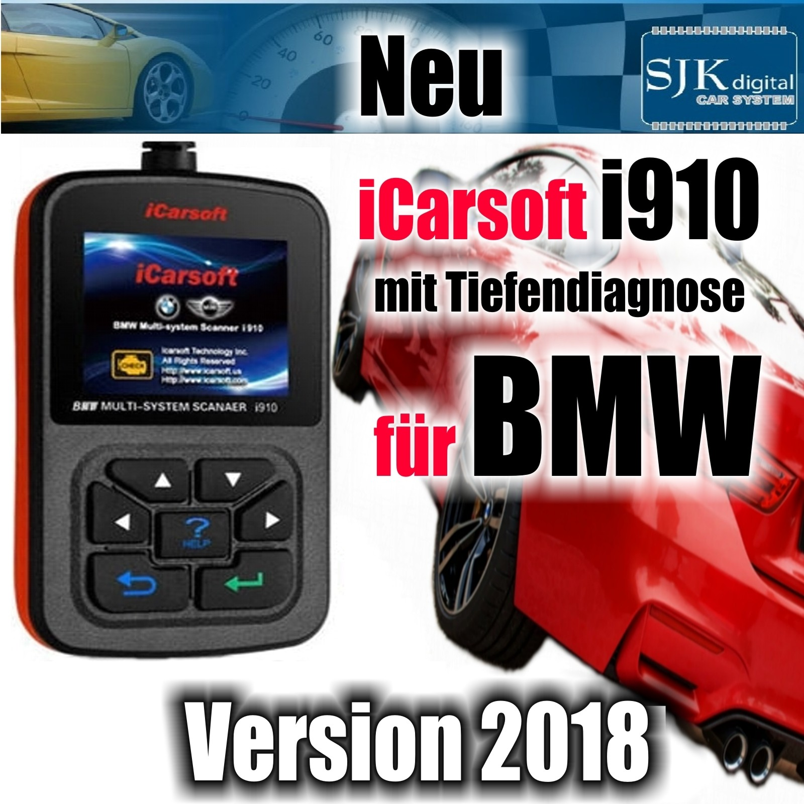 Sjk Digital Tuning Icarsoft I910 Diagnose Gerät Für Bmw Abs Airbag
